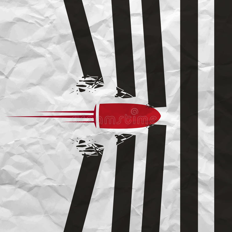El tiro rojo de la bala rompió las paredes en el fondo blanco con textura de papel arrugada Ilustración del vector stock de ilustración