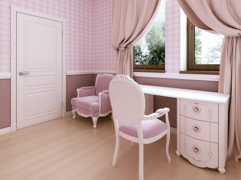 El tocador blanco en el cuarto de niños es un estilo clásico stock de ilustración