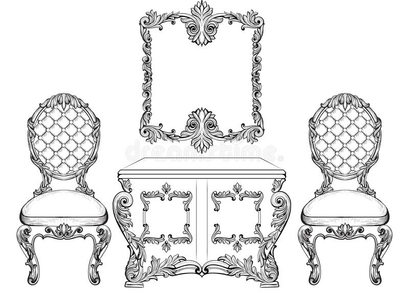 El tocador y las sillas de lujo barrocos de los muebles del estilo fijaron la colección Tapicería con los ornamentos ricos lujoso ilustración del vector