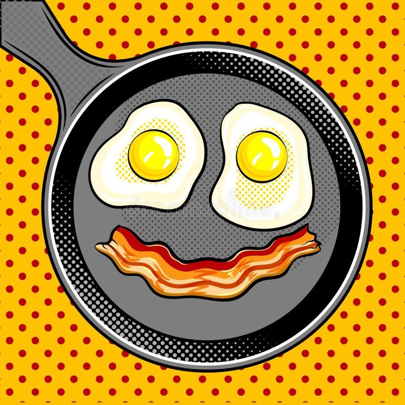 El tocino de los huevos fritos parece vector del arte pop de la sonrisa libre illustration