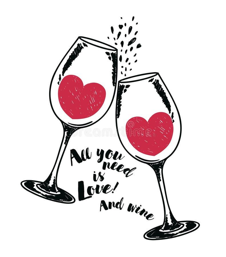 El ` todo lo que usted necesita es cartel del ` del amor con dos copas de vino y corazones ilustración del vector