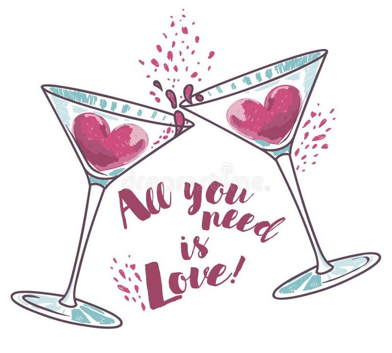 El ` todo lo que usted necesita es cartel del ` del amor con dos vidrios y corazones de martini ilustración del vector