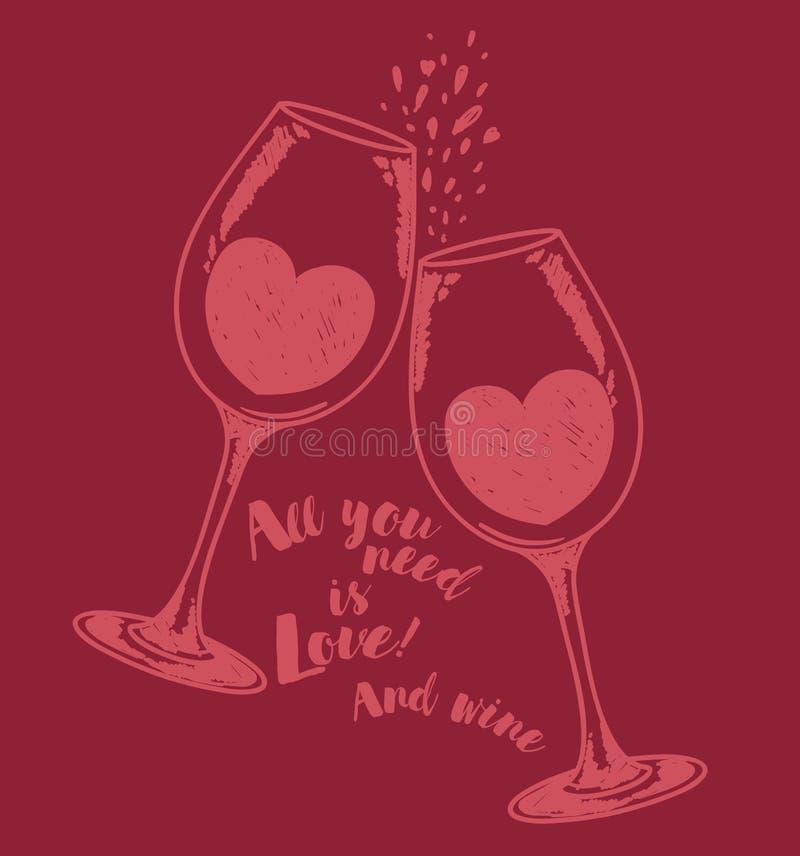 El ` todo lo que usted necesita es cartel del ` del amor y del vino con dos copas de vino y corazones ilustración del vector
