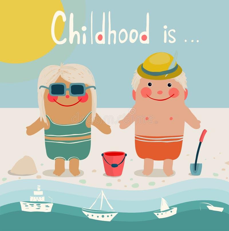 El tomar el sol de los amigos de los niños de la playa del verano ilustración del vector