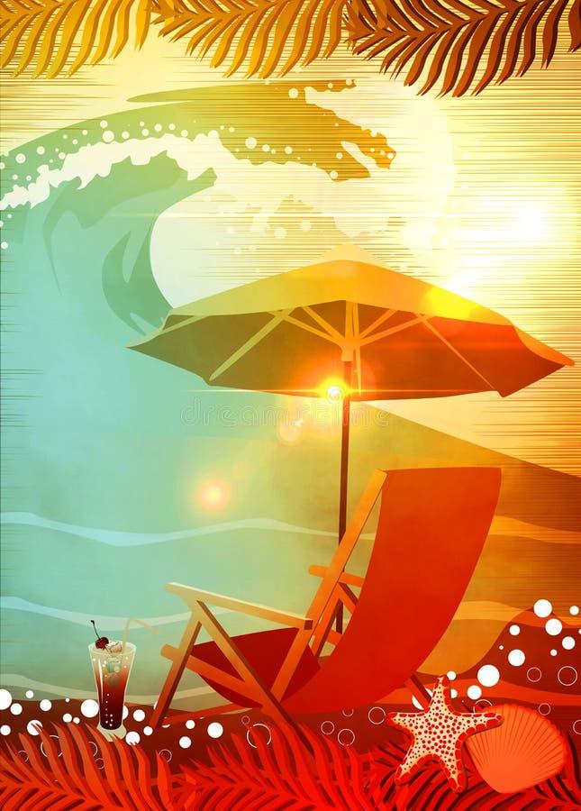 El tomar el sol en fondo de la playa stock de ilustraci n for Sillas para tomar el sol