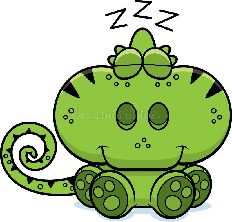 El tomar una siesta del camaleón de la historieta stock de ilustración
