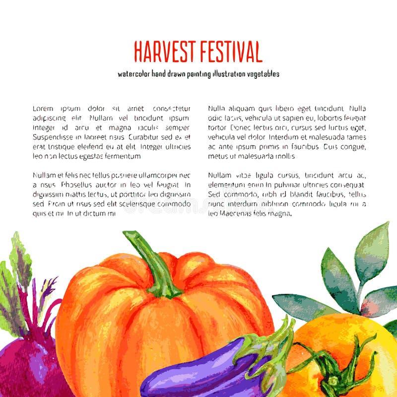 El tomate de la acuarela, calabaza, remolacha, berenjenas aisladas en el blanco, mano dibujada diseñó la verdura del marco con el stock de ilustración