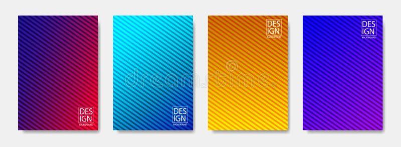 El tono medio colorido forma la cubierta de diseños de página diseña Cubierta mínima del diseño moderno con pendientes Cartel din libre illustration