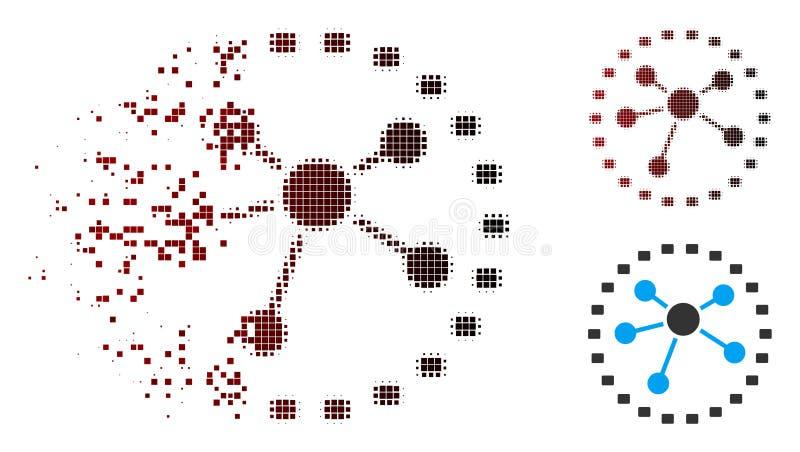 El tono medio de disolución del pixel punteado liga el icono del diagrama ilustración del vector
