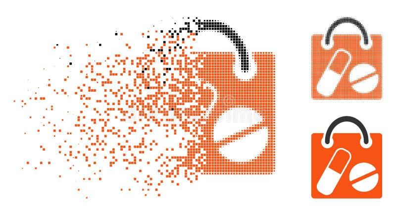 El tono medio de mudanza de Pixelated droga el icono del panier stock de ilustración