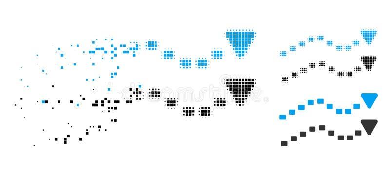 El tono medio destrozado de Pixelated punteado tiende el icono stock de ilustración