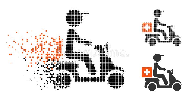El tono medio disuelto del pixel droga el icono de la entrega de la moto libre illustration