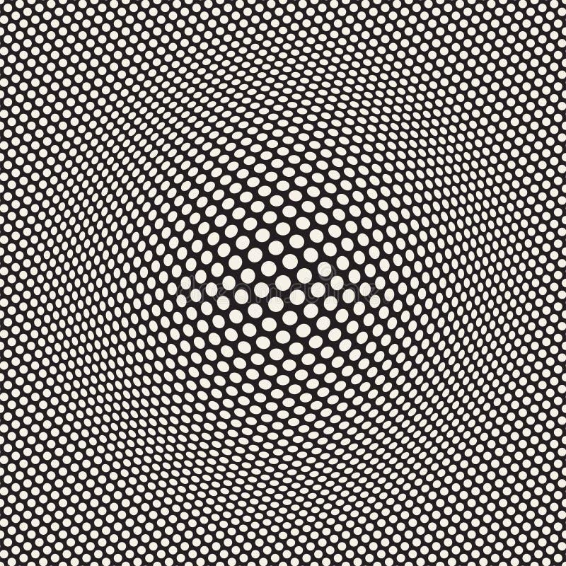El tono medio hincha la ilusión óptica del efecto Diseño geométrico abstracto del fondo Modelo retro inconsútil del vector fotografía de archivo libre de regalías