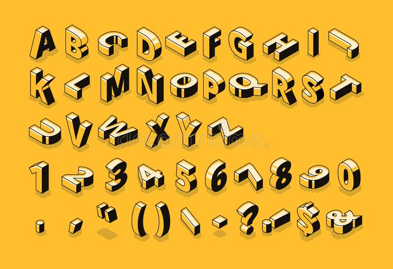 El tono medio isométrico de la fuente pone letras al ejemplo del vector ilustración del vector