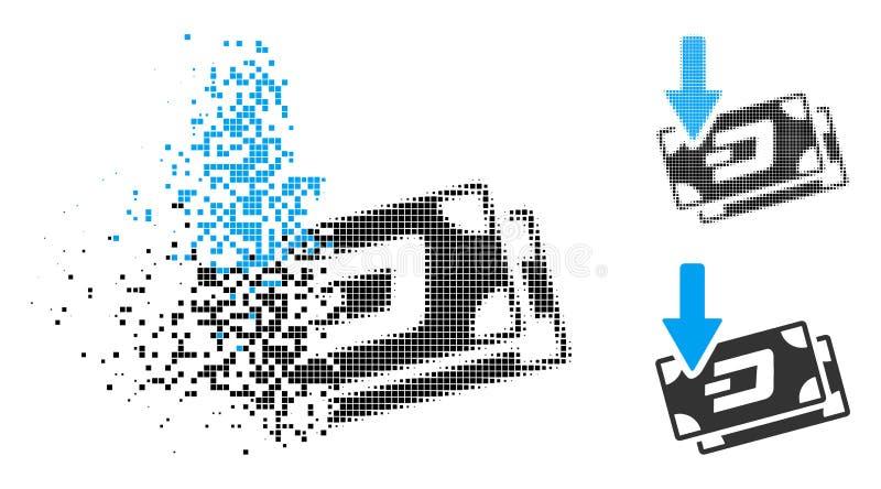 El tono medio punteado disperso consigue el icono de los billetes de banco de la rociada de la flecha ilustración del vector
