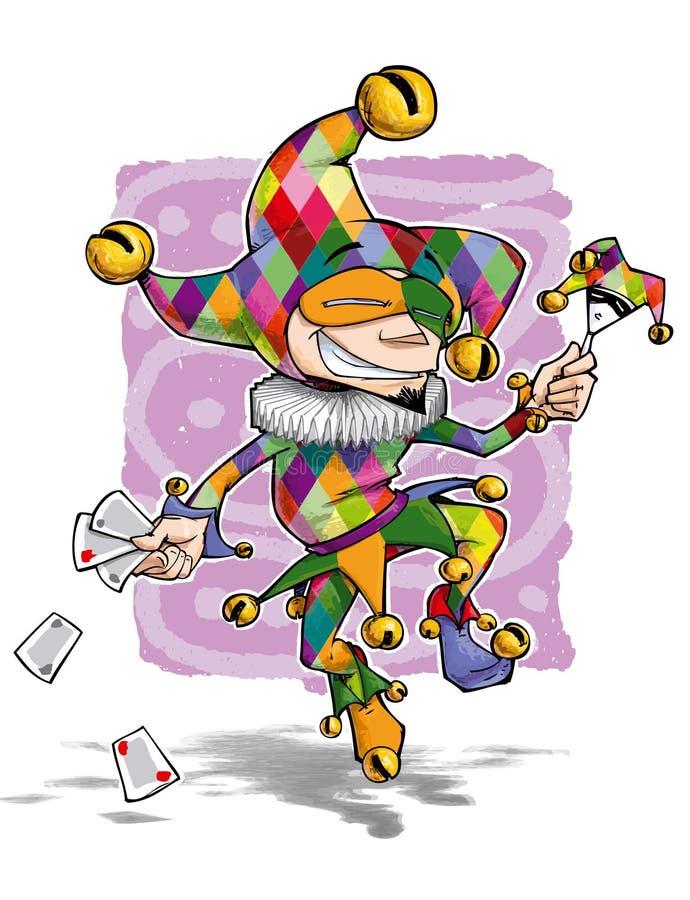 El tonto del color baila con las tarjetas y la marioneta ilustración del vector
