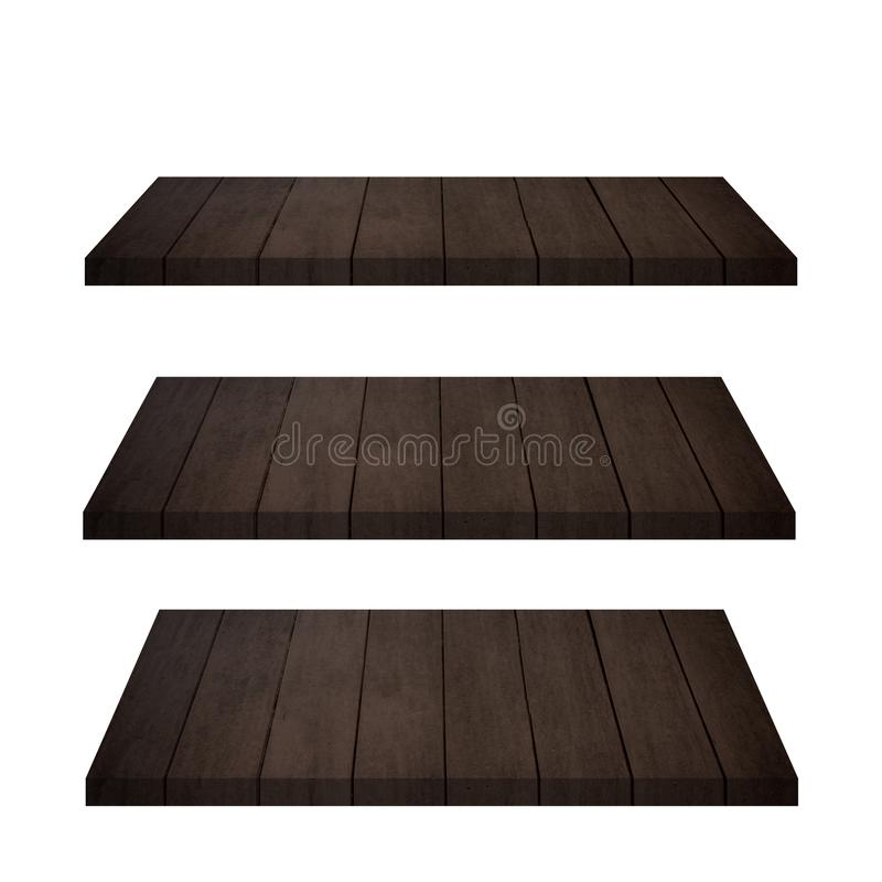 El top vacío 3 del contador de madera del estante aisló libre illustration