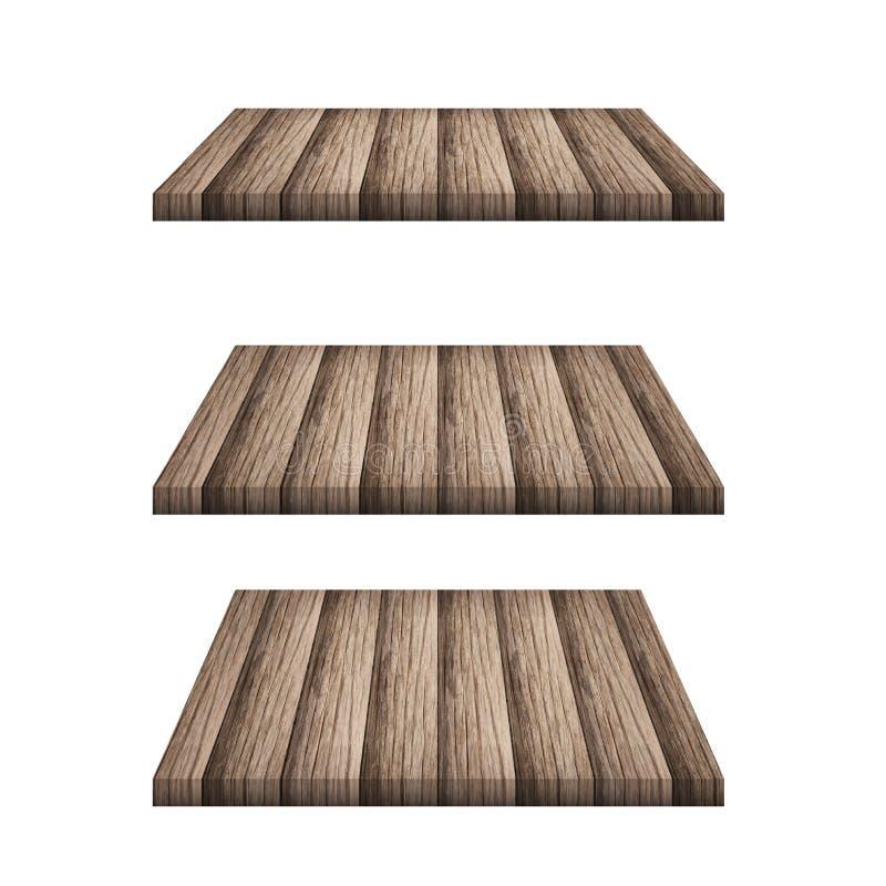 El top vacío 3 del contador de madera del estante aisló ilustración del vector