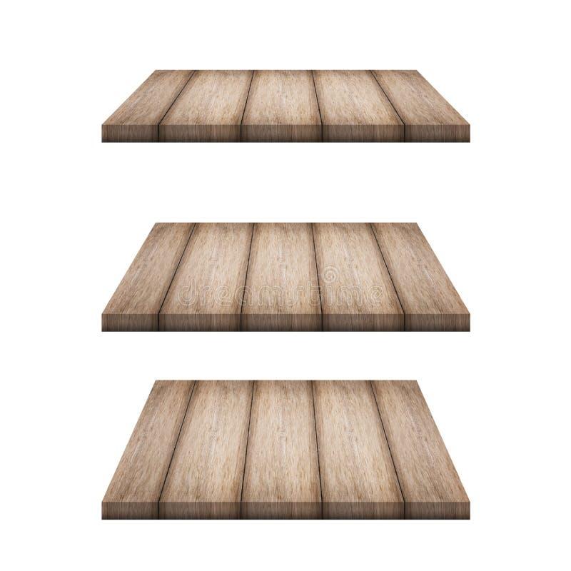 El top vacío 3 del contador de madera del estante aisló stock de ilustración