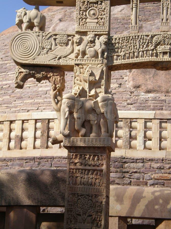 El Torana complejo fuera del Stupa en Sanchi fotografía de archivo libre de regalías