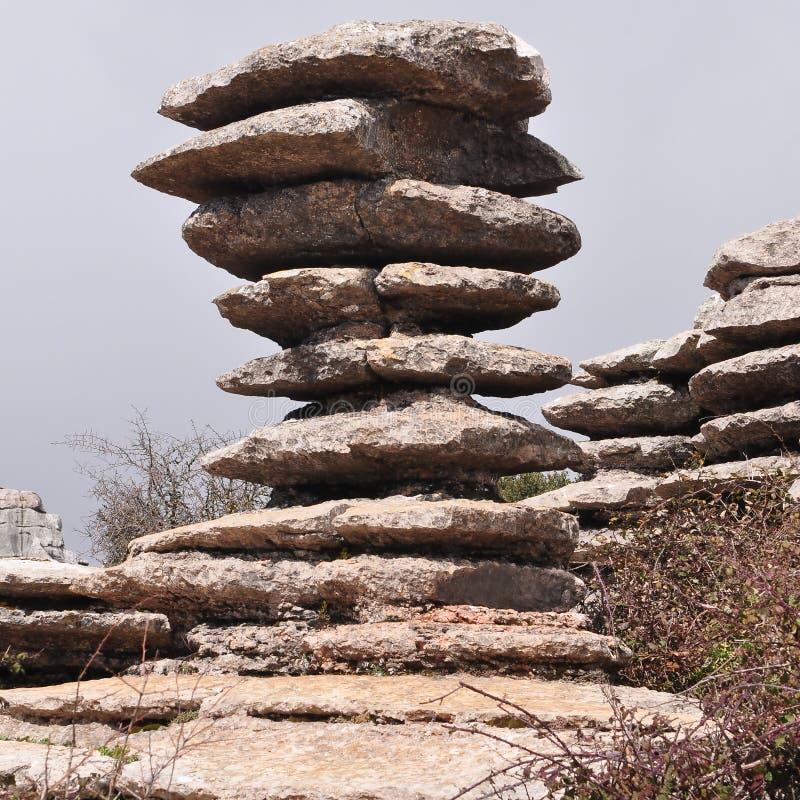 El Torcal自然保护,西班牙的纪念碑 库存图片