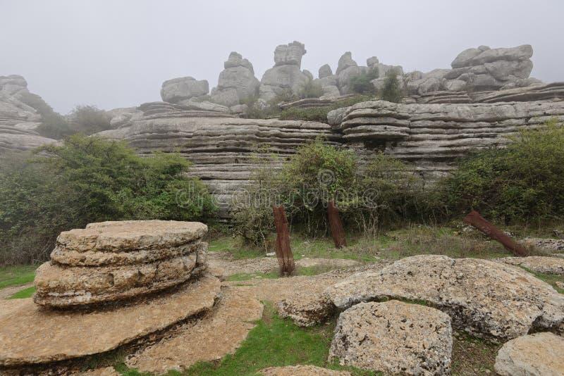 El Torcal de Antequera, горные породы Андалусия стоковое фото rf
