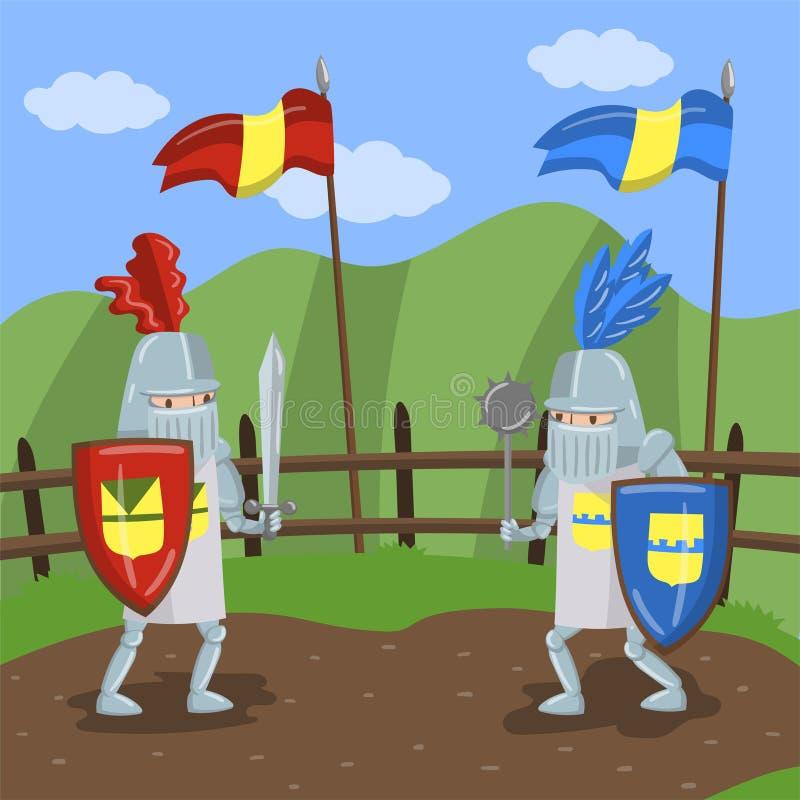 El torneo medieval de los puntos, dos amed a los caballeros jousting en el ejemplo del vector del fondo del paisaje del verano stock de ilustración
