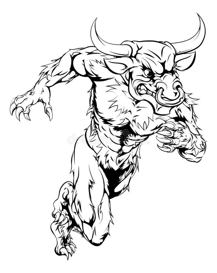 Download El Toro De Minotaur Se Divierte El Funcionamiento De La Mascota Ilustración del Vector - Ilustración de bestia, animal: 42437263
