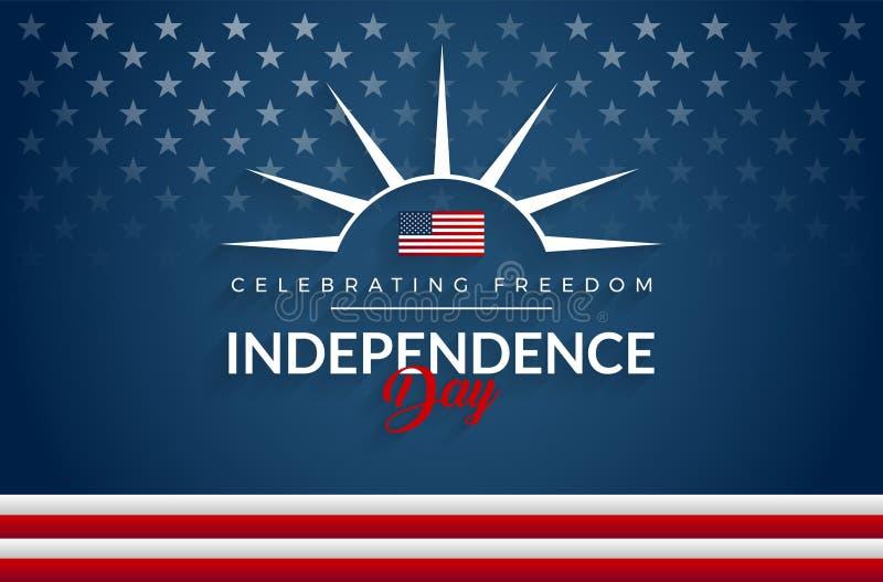 El 4tos felices del Día de la Independencia los E.E.U.U. de julio señalan el fondo por medio de una bandera ilustración del vector