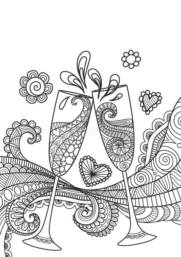 El tostar de los vidrios de Champán stock de ilustración