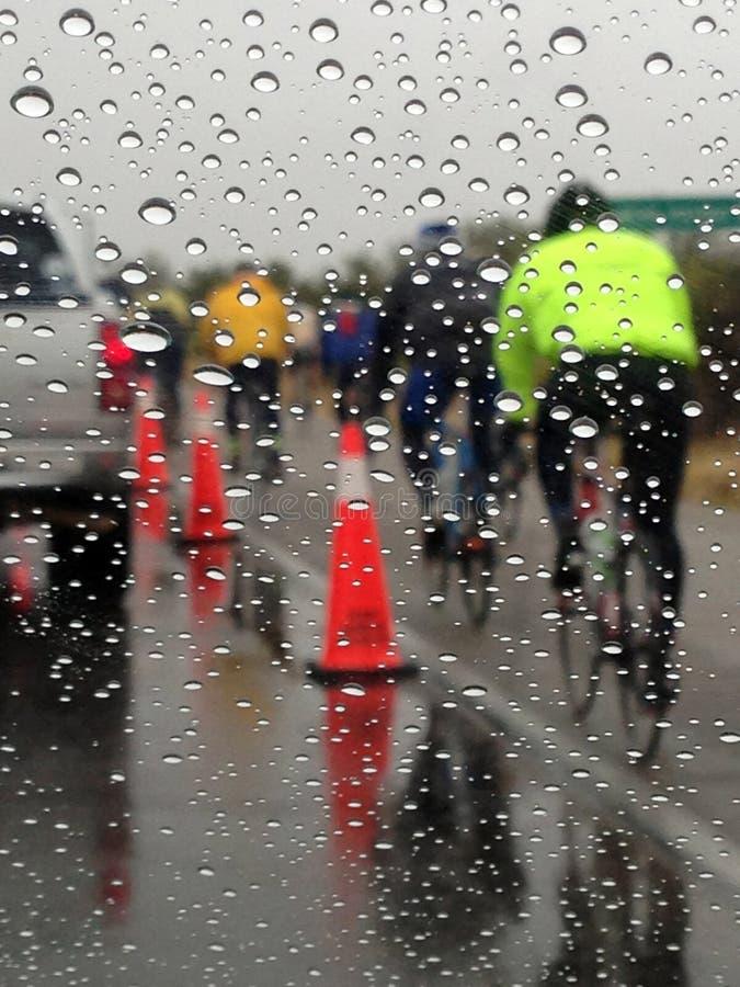 El Tour de Tucson, AZ cycling event in the rain stock images