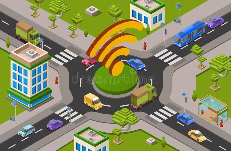 El tráfico de ciudad y el wifi elegantes en el cruce 3D isométrico vector el ejemplo de la tecnología moderna de Internet del tra libre illustration