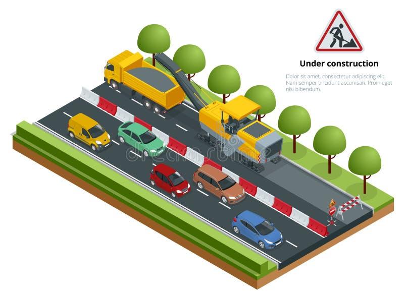 El tráfico isométrico en el camino, camino repara concepto Fresadora fría que quita capa del asfalto en un camino stock de ilustración