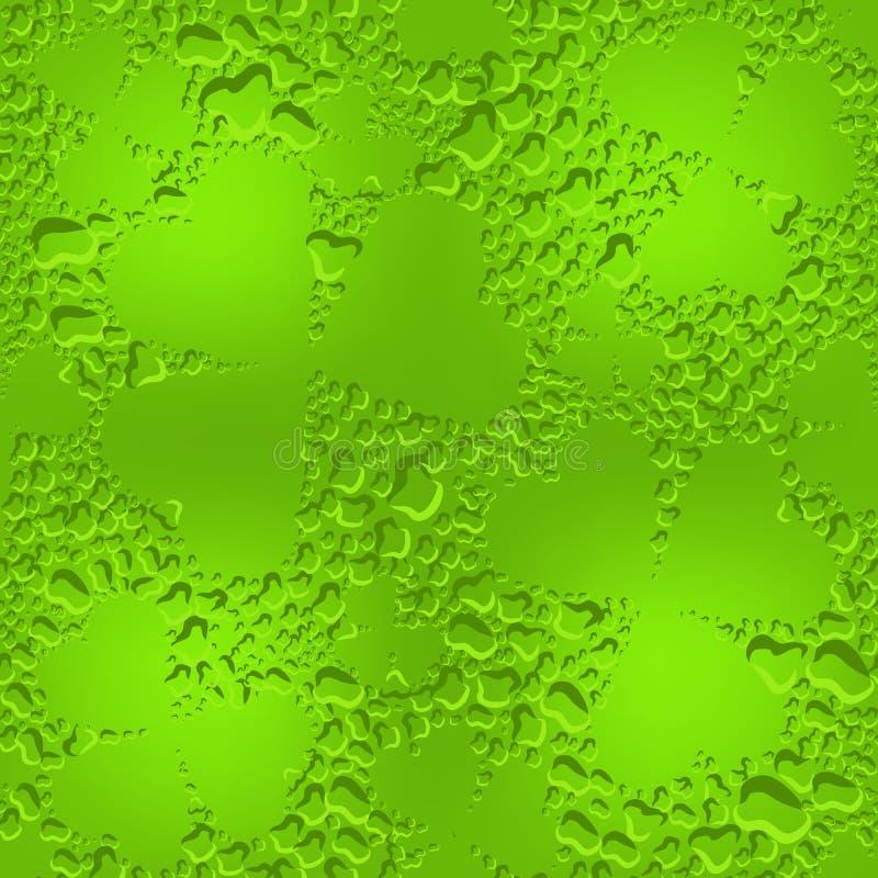 El trébol de cristal inconsútil verde se va con descensos transparentes del rocío libre illustration
