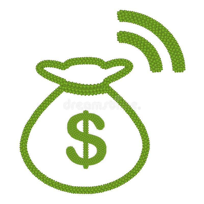 El trébol de cuatro hojas del dólar firma adentro el bolso RSS del dinero libre illustration