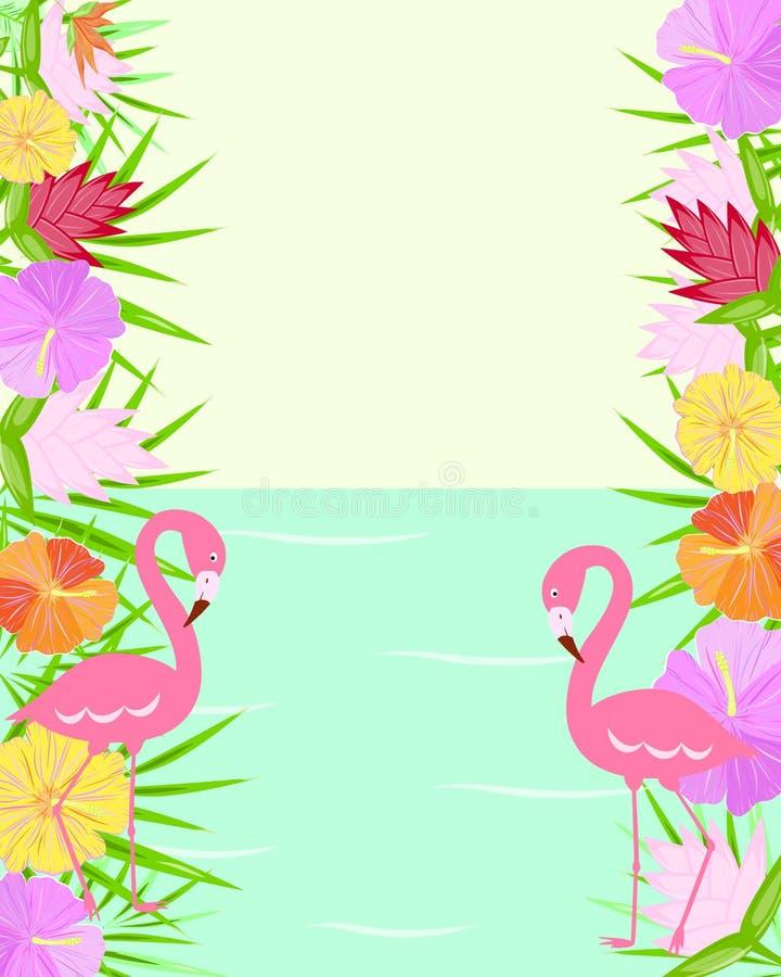 El trópico florece el flamenco stock de ilustración