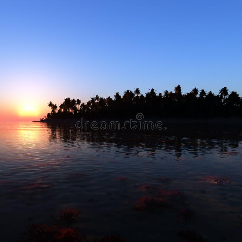 El trópico sueña puesta del sol ilustración del vector