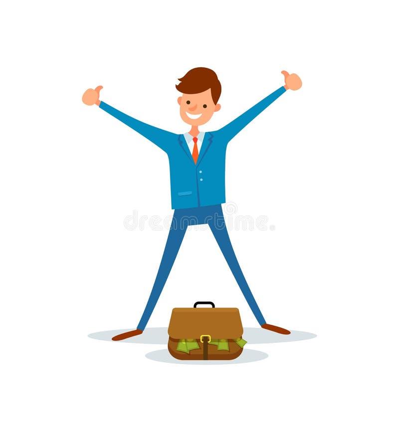 El trabajador alegre consigue el bolso lleno de administrador de dinero Suit libre illustration
