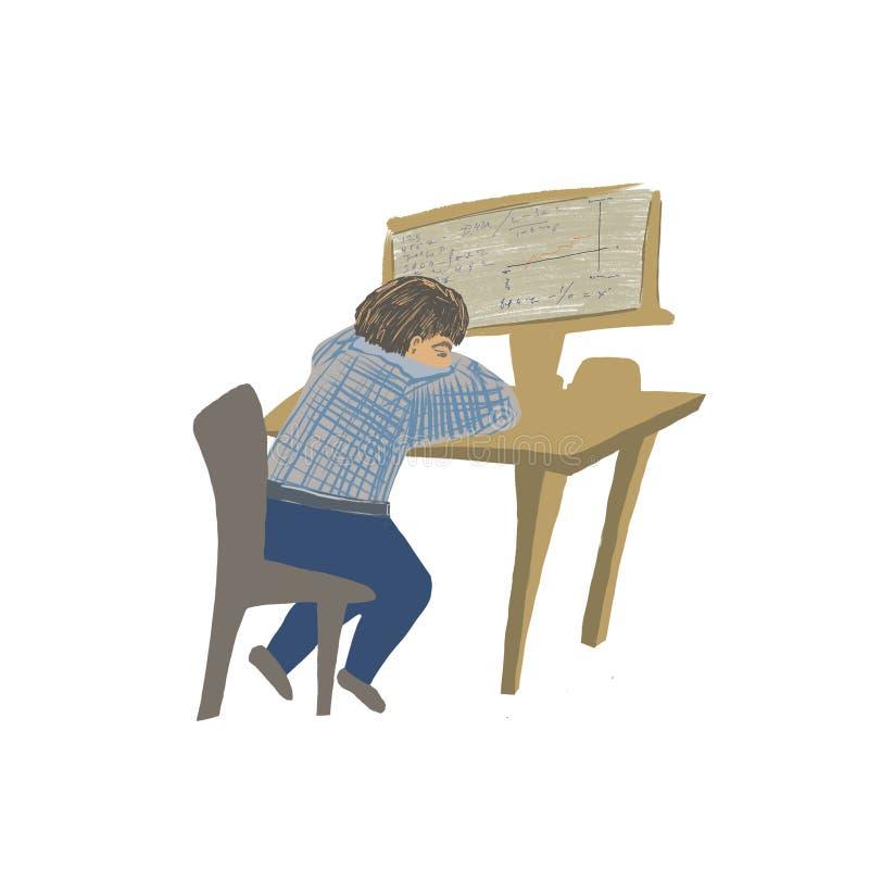 El trabajador cansado se sienta delante del ordenador ilustración del vector
