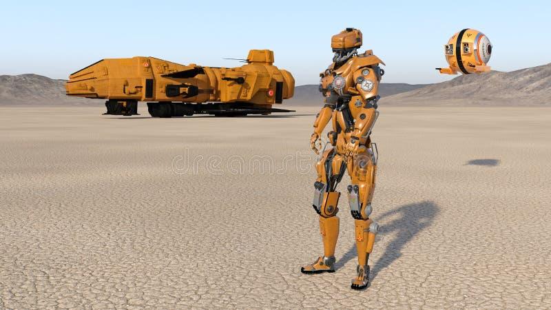 El trabajador del Cyborg con la nave espacial y el abejón, robot del humanoid con la nave espacial explorando el planeta abandona ilustración del vector