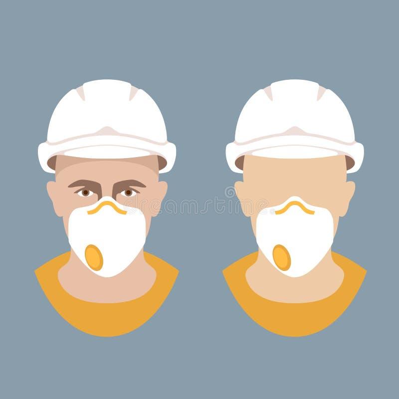 El trabajador en un casco protector y el respirador vector el plano libre illustration