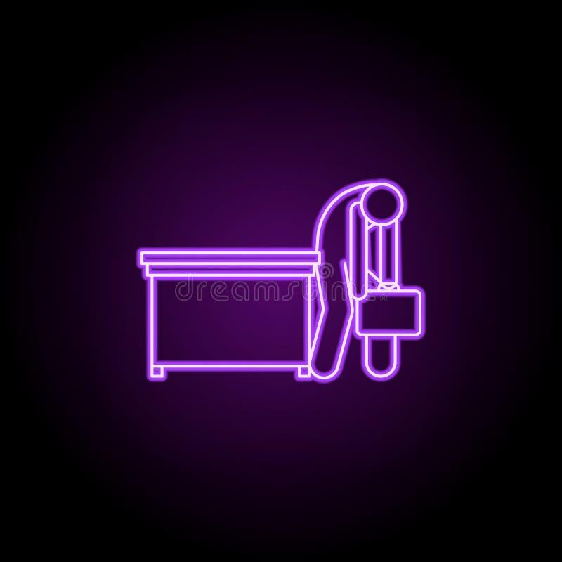 el trabajador es icono de neón muy cansado Elementos de la gente en el sistema del trabajo Icono simple para las p?ginas web, dis libre illustration