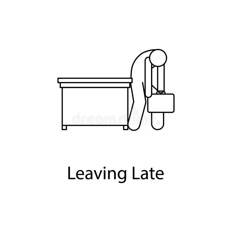 el trabajador es icono muy cansado Gente del elemento en el lugar de trabajo para los apps móviles del concepto y del web Línea f ilustración del vector