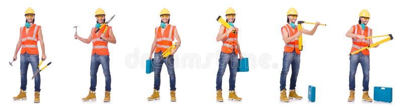 El trabajador industrial aislado en blanco fotografía de archivo