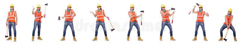 El trabajador industrial aislado en blanco imagenes de archivo