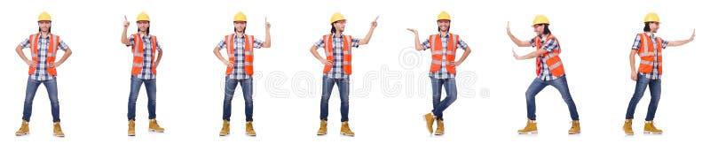 El trabajador industrial aislado en blanco imagen de archivo libre de regalías