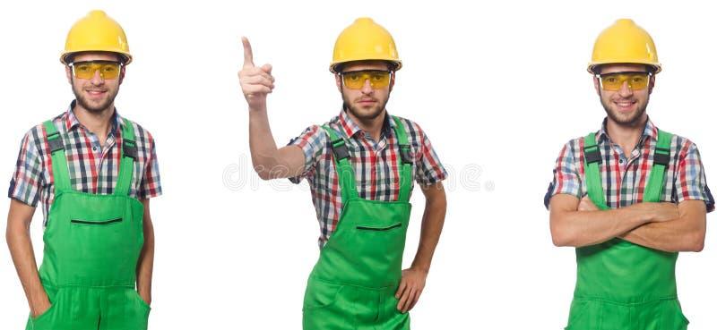El trabajador industrial aislado en blanco imagen de archivo