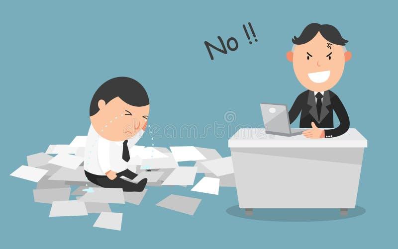 El trabajo del empleado consiguió rechazado por su jefe stock de ilustración