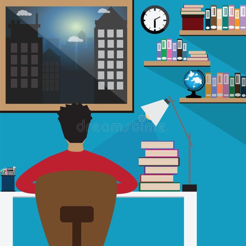 El trabajo del estudiante difícilmente, muchacho del estudiante leyó los libros en el de última hora para e stock de ilustración
