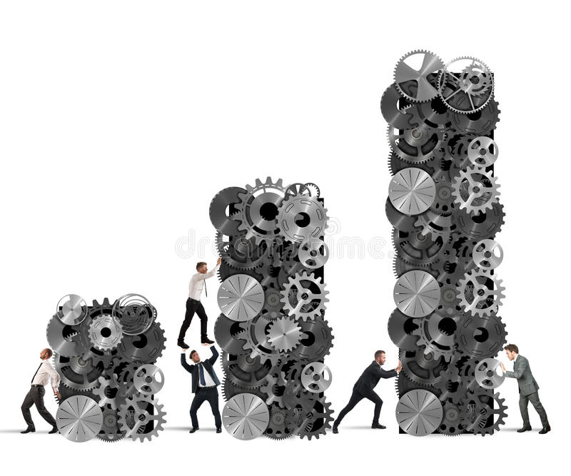 El trabajo en equipo construye beneficio corporativo libre illustration